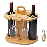 Service21 Weinflaschenhalter für 2 Flaschen und 4 Gläser inklusive kostenlosem Weinflaschenöffner...