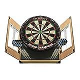Target Darts Weltmeisterschafts Dartboard in einem Heim-Kabinett mit Zwei Darts-Sets, Hellbraun,...