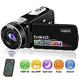Camcorder Videokamera Full HD Digitalkamera 1080P 24.0MP Vlogging Kamera Nachtsicht-Pausenfunktion...