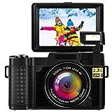 LINNSE Digitalkamera Vlogging-Kamera Full HD 2.7K 24MP Kompaktkameras Schwarz