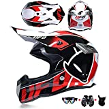 WRISCG Kind Motorradhelm Set mit Schutzbrille Handschuhmaske Off Road Motorrad Moto-Cross Full Face...