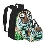 Rucksack mit Gras-Kräuter-Gesicht, Tiger-Stiele, Schultasche, Büchertasche, Rucksack mit...
