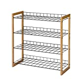 Einfacher Schuhregal Metall Multilayer Mesh Bambus Schuhregal Home Storage Rack Kreativer Schuhregal