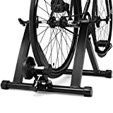 COSTWAY Rollentrainer aus Stahl, Cycletrainer klappbar, Fahrrad Heimtrainer für Indoor...