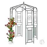 Relaxdays Rosenpavillon Metall, Rankhilfe für Kletterpflanzen, Garten, dekorativer Rankpavillon,...