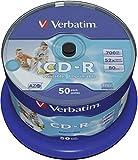 Verbatim CD-R AZO - 700 MB, 52-fache Brenngeschwindigkeit mit langer Lebensdauer, Bedruckbar, 50er...