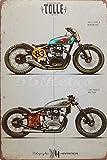 Two radical Yamaha XS650 custom Motorrad, Blechschild, Weinlese Wandverzierung