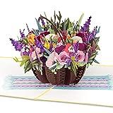 "PaperCrush® Pop-Up Karte Blumen ""Bunter Blumenkorb"" - 3D Blumenkarte für Freundin, Frau oder..."