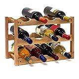 Relaxdays Weinregal klein, Flaschenregal mit 3 Ebenen für 12 Flaschen Wein, H x B x T: 28 x 42,5 x...