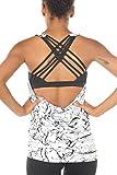 icyzone Damen Sport Tops mit Integriertem BH - 2 in 1 Yoga Gym Shirt Fitness Training Tanktop (M,...