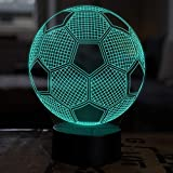 LED Deko Lampe Fußball - Elbeffekt - Fußball Kinder Deko - Fußball Lampe Kinderzimmer Geschenk...