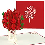 PaperCrush Pop-Up Karte Rote Rosen - 3D Blumen Geburtstagskarte mit Rosenstrauß, Romantische...
