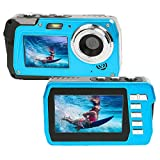 Unterwasserkamera 2.7K Full HD 48MP wasserdichte Kamera Dual Screens 3.0 in Unterwasserkamera 10 ft...