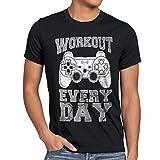 style3 Gamer Workout Herren T-Shirt Play Sport Station Controller ps Game, Größe:XXL;Farbe:Schwarz
