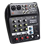 SYNCO Mischpult, Audiomixer 4-Kanal DJ Mixer, Audiomischer Bluetooth/USB, 2 Mono 1 Stereo Eingang,...