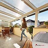 ACRYLSHOP24 Terrassendach Terrassenüberdachung Carport Komplettset Polycarbonat 16mm X-Struktur...