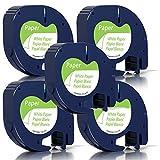 Unistar Kompatibel Etikettenband als Ersatz für Dymo 91220 91200 LetraTag Paper White 12mm x 4m...