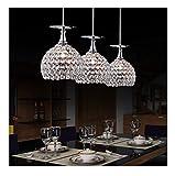 XinQing Pendelleuchten Pendelleuchte LED Chrom Hängelampe Luxus Kristallkugeln Esstisch Lampe for...