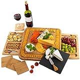 Käsebrett aus Bambus, Schieferplatten, Käseplatte enthält Untersetzer – 2 versteckter...