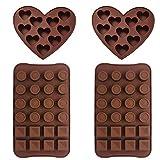 Silikon Schokolade Formen - WENTS 4PCS Silikonform Silikon Backform Herzen Silikon Eiswürfelform...