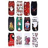 Vertvie 12 Paar Unisex Weihnachtssocken Christmas Socks Weihnachtsmotiv Weihnachten Festlicher...