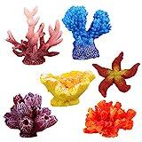 UEETEK 6 Stück Multicolor Aquarium Decor Künstliche Sea Star Gefälschte Korallen Versteckt...