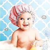 Badehauben für Kinder, wasserdicht, doppelschichtig, elastisches Band