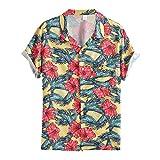 Herren Sommer Kurzarmhemd Vintage Hawaii-Print Hawaiihemd Strand Shirt Umlegekragen für Männer...