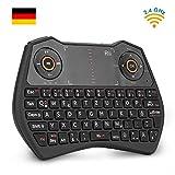 Rii K28C Mini Tastatur Wireless, Mini Tastatur Kabellos mit Touchpad, Mini Tastatur Beleuchtet fr...