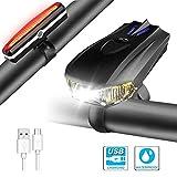 DOOK LED Fahrradlicht Set, StVZO 400 Lumen Fahrradlampe Fahrradbeleuchtung USB Wiederaufladbare IPX5...