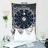 KHKJ Sonne und Mond Mandala Tapisserie Kopfteil Wandkunst Tagesdecke Wohnheim Tapisserie für...