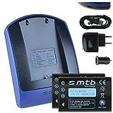 2 Akkus + Ladegerät (Netz+Kfz+USB) NP-120 für Fuji F10, F11, M603 / Aiptek Medion Rollei Toshiba...