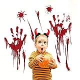 Halloween Dekoration Wandaufkleber Blut Handabdruck Blut Fußabdrücke Wohnzimmer Ecke Fenster...