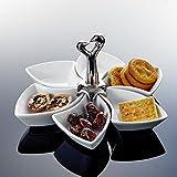 MALACASA, Serie Special.Shap, 6 teilig Snackschale, Drehbar Dessertschale mit Griff Porzellan...