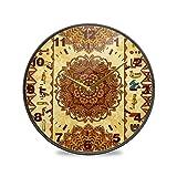 ISAOA 24,1 cm Nicht-tickende Wanduhr, batteriebetrieben, antike gyptische Hieroglyphen und...