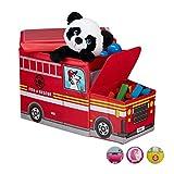 Relaxdays Sitzbox Kinder, Staubox mit Deckel, Spielzeug, faltbar, Feuerwehrauto, Stauraum, Jungen &...