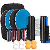 Tencoz Tischtennis Set, Ping Pong Set Table Tennis Set Tischtennisschlaeger Set mit Tischtennisnetz,...