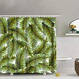 Goodckn Duschvorhang mit Bananenblättern, mit Haken, 183 x 183 cm, Grün