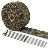 LIHAO Hitzeschutzband Basaltfaser Auspuffband 10M mit Kabelbinder für Fächerkrümmer Thermoband...