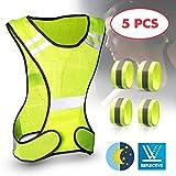 tEEZErshop Warnweste Set, Sicherheitsweste mit Längenverstellbaren Klettverschluss, Warnweste...