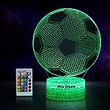 Fußball 3D Nachtlicht für Jungen, 3D Optische Täuschungs lampe, Dimmbare 3D Nachtlicht mit 16...