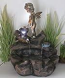 Arnusa Springbrunnen Engel mit Beleuchtung Mini Teich Gartenbrunnen Wasserspiel Wasserfall...