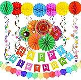 dyudyrujdtry Simple 28 Pack Happy Birthday Dekorationen Supplies – Bunte Happy Birthday Banner,...