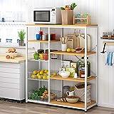 HttKse Durable Kitchen Bakers Rack-Vintage 3-Tier-Utility Storage Regal Mit Drahtkorb - für...