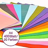 VGOODALL Seidenpapier, 400 Blatt A4, Bunt 20 Farben, 16 g/qm Bastelpapier zum Kreieren von Pompoms,...