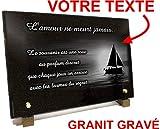 Unbekannt Grabschild Segelboot Ozean Granit Gravur 30 x 20 x 2 cm