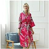 AXIANQIPJS Damen Kimono-Morgenmantel aus 100% Seide Satin für Frauen Hochzeit Mädchen Bonding...