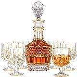 QJIAXING Stück Whisky Dekanter Set, Gold Trim Whisky Dekanter mit 6 Whisky Gläsern, Premium...