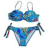 QingJiu Damen Bandeau Sling Bikini Blumendruck Bandage Bademode Zweiteiler Badeanzug Beachwear Set
