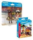 PLAYMOBIL Piraten 2-teiliges Figurenset: 9358 Pirat mit Schatzkiste + 70273 Piratenkapitän mit...